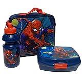 Spiderman Trinkflasche und Brotbox Set Lunchbox Marvel Kindergartentasche mit Brotzeitdose und Flasche Pausenset 48808