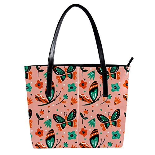 Women's Bag Shoulder Tote handbag with Butterflies Pattern print Zipper Purse PU Leather Top-handle Zip Bags -