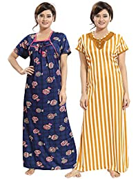 TUCUTE Women Girls Beautiful Pot Design on Denim Print Base+ Bold Line Print  Nighty  741acdc4b