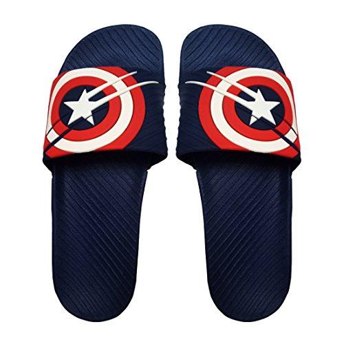 Attrix Men Step Care Flip Flop Captain America Printed House Slipper (Blue-colour)