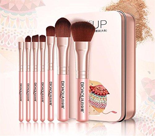 Huihuger_ 7 Pcs Maquillage Brosse Outil Doux Blush Visage Joue Contour Fondation Poudre Brus Cosmétique Brosses Kit for makeup (Couleur : Pink)