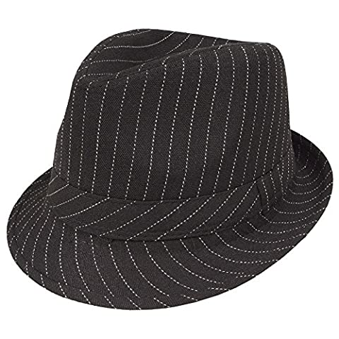 Costumes Hommes Blanc Gangster - Deguisement Chapeau de gangster Mafia Noir avec