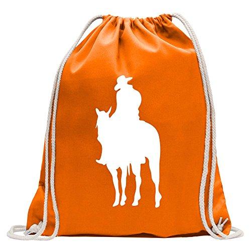 Kiwistar Cowboy Reiter Turnbeutel Fun Rucksack Sport Beutel Gymsack Baumwolle mit Ziehgurt