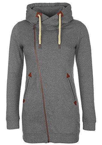 DESIRES Vicky Zip Hood Long Sweatjacke, Größe:XL;Farbe:Grey Melange (8236)