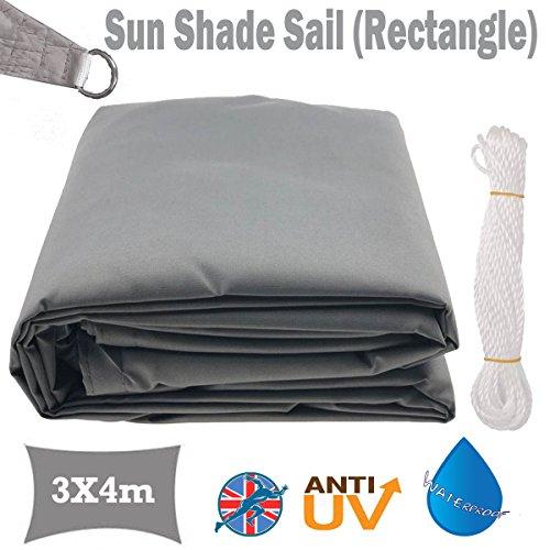 Rectangle Soleil Voile d'ombrage 3 x 4 m résistant à l'eau Sun Block 98% UV Auvent Auvent de terrasse Jardin avec Cordes d'anneaux Facile à Installer (Gris), 5 Ans de Garantie
