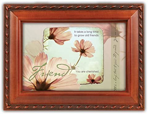Old Friends Friendship Faux Woodgrain Music Jewelry Box Plays That's What Friends Are For by Cottage Garden