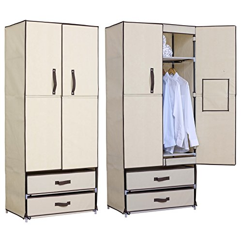 stoff kleiderschrank beige 74x46x172 cm. Black Bedroom Furniture Sets. Home Design Ideas
