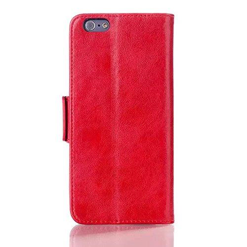 """inShang Hülle für Apple iphone 6 4.7 inch iPhone6 4.7"""", Edles PU Leder Tasche Hülle Skins Etui Schutzhülle Ständer Smart Case Cover für iphone 6 Cell Phone, Handy , Zubehör + inShang Logo hochwertigen Oil-pull red"""