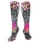 NFHRREEUR Knee High Socks Owl Leopard Compression Socks Sports Athletic Socks Tube Stockings Long Socks Funny Personalized Gift Socks for Men Women Teens