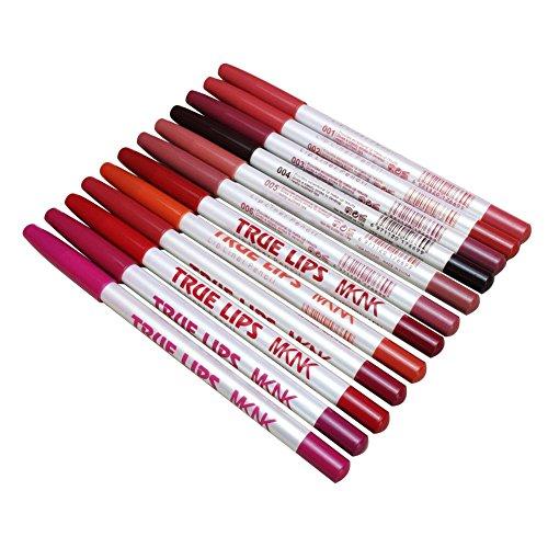 Allbesta 12 Farben Lippenkonturenstift Wasserdicht Make-up Lip Liner/Eyeliner Lidstrich Stift Set