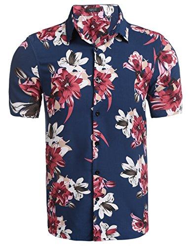 Coofandy Herren Sommer Hemd Kurzarm Hawaiihemd Hawaiishirt Freizeithemd Urlaub Hawaii-Print (XXL, G-Dunkelblau & Rote Blumen) (Blumen-hawaii-shirt)
