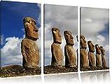 Moai Statuen auf den Osterinseln 3-Teiler Leinwandbild 120x80 Bild auf Leinwand, XXL riesige Bilder fertig gerahmt mit Keilrahmen, Kunstdruck auf Wandbild mit Rahmen, gänstiger als Gemälde oder Ölbild, kein Poster oder Plakat