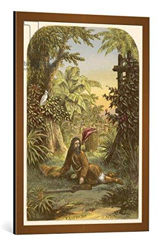 """Quadro con cornice: Alexander Francis Lydon """"Robinson Crusoe awakened from sleep by his parrot"""" - stampa artistica decorativa, cornice di alta qualità, 60x85 cm, Rame spazzolato"""