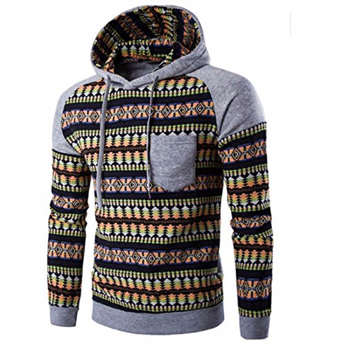 Men's Fashion Print Long Sleeve Stitching Pullover Casual Hoodie Gainsboro