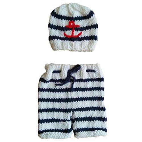 Baby Kostüm Windel Super - Jastore ®Marine Streifen Baby Kostüm Windel Fotografie Prop Süss Crochet häkeln Strickmütze Hut Cap Junge Mädchen