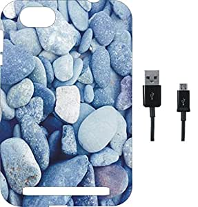 BKDT Marketing Printed Soft Back Cover Combo for Lava V5 With Charging Cable