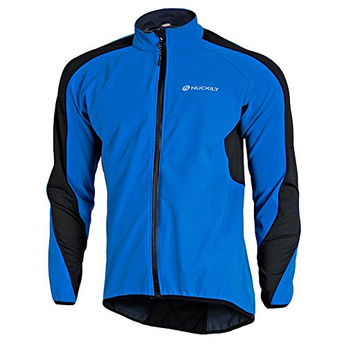 Fitsund Herren Fahrrad Jacke Fleece Radjacke MTB Mountainbike Jacket (Blau, 2XL)