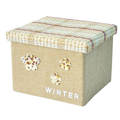 Blancho Pliable panier boîte organiseur de rangement avec couvercle, Beige