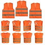 10 Stück Warnweste Sicherheitweste Unfall-weste Orange KFZ PANNENWESTE Sicherheit-Warnweste Ideal für Handwerker, Bauarbeiter  Wanderer, Hundehalter, Beeren- und Pilzsammler