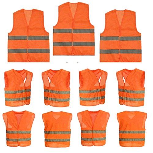 Sicherheits-warnweste (10 Stück Warnweste Sicherheitweste Unfall-weste Orange KFZ PANNENWESTE Sicherheit-Warnweste Ideal für Handwerker, Bauarbeiter  Wanderer, Hundehalter, Beeren- und Pilzsammler)