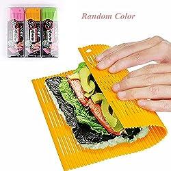 """Shuxy Anti-aderente Sushi Rolling Mat Rullo di sushi fai da te Kit per la fabbricazione di sushi in plastica giapponese 11,8 """"L x9,8"""" W Colore casuale"""