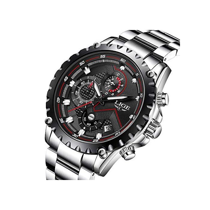 Armbanduhr für Herren, sportlich-luxuriöses Design, Quarzwerk, wasserdicht, Edelstahl, Chronograph mit schwarzem Zifferblatt