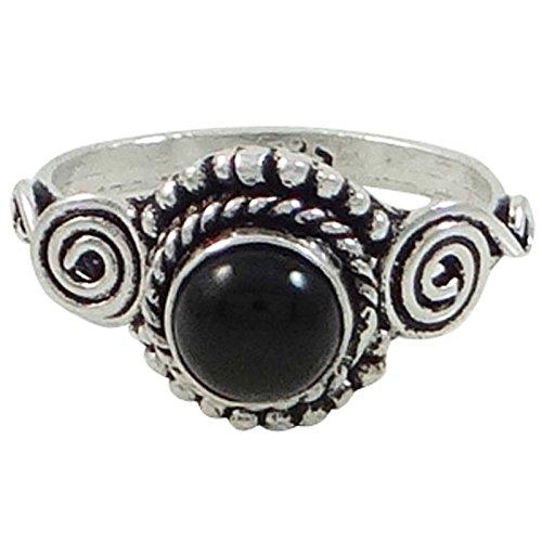 Plateado plata Negro Onyx piedra preciosa semi anillo de bisutería regalo para ella