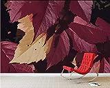 HONGYAUNZHANG Rote Blatt Aquarell Stil Benutzerdefinierte Fototapete 3D Stereoskopischen Wandbild Wohnzimmer Schlafzimmer Sofa Hintergrund Wandmalereien,350Cm (H) X 430Cm (W)