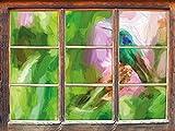 Hummingbird dans son habitat naturel effet Art Brush Fenêtre en 3D look, mur ou format vignette de la porte: 62x42cm, stickers muraux, sticker mural, décoration murale