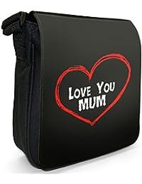 Love You Mum Mother Birthday Gift Small Black Canvas Shoulder Bag / Handbag