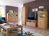 expendio Wohnzimmer Pisa 50 Eiche Bianco massiv 5-teilig Wohnwand Highboard Couchtisch Wohnmöbel