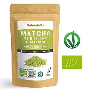 Tè Verde Matcha Biologico in Polvere [ GRADO CULINARIO ] da 50g. The Matcha Prodotto in Giappone Uji, Kyoto. Ideale per Dolci, Frullati, Tè freddo, Latte e in Cucina come Ingrediente nelle Ricette