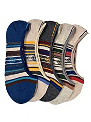 VINENZIA 5 Pair cotton no show, liner socks unisex socks(Double stripped)