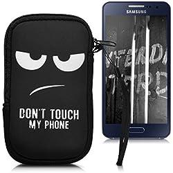 """kwmobile Funda Universal para móvil de M - 5,5"""" - Estuche de [Neopreno] con [Cierre] - Carcasa con diseño Don't Touch my Phone"""