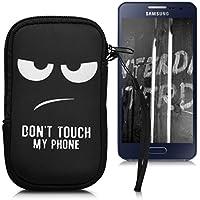 """kwmobile Funda de Neopreno para Móvil para Smartphones M - 5,5"""" - Funda para Smartphone Carcasa Protectora con Diseño Don't Touch my Phone Blanco Negro"""