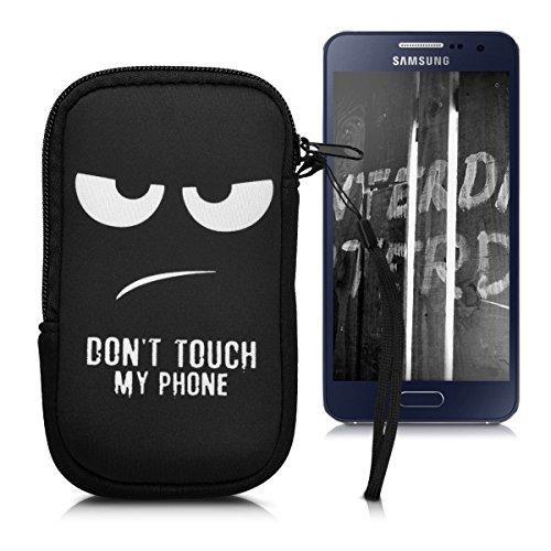 """Handytasche Neopren Sleeve für Smartphones M - 5,5"""" - kwmobile Handy Tasche Case Schutzhülle mit Don't touch my Phone Design Weiß Schwarz"""