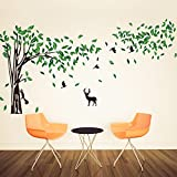 Rainbow Fox Riesige elegante grüne Baum Wandaufkleber mit Eichhörnchen-Wandschablone und Kaninchen spielen um Baum Wandtattoo zum Dekorieren Kinderzimmer Wohnzimmer Babyraum Wandtattoo(RF8260)