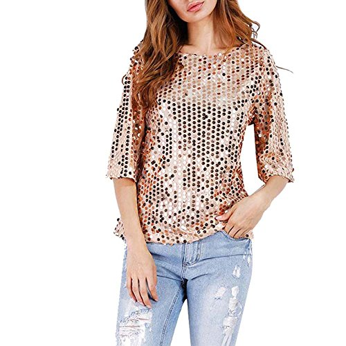 CAOQAO Frauen Sexy Party Teilnahme Lose Pailletten Flash Sommer Shirt Casual ()