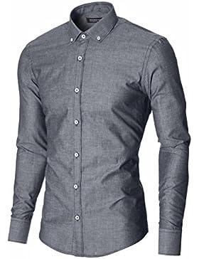 MODERNO Slim Fit Business Herren Hemd mit Weißen Knöpfen Button Down Kragen (MOD1459LS)