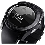 Mobimint Micromax Canvas Spark 2 Compatible Bluetooth Smartwatch / Wrist Watch (V8 Black) With Sim Card Support For High Quality Calling | Facebook And WhatsApp | Touch Screen | Multilanguage | Activity Trackers | Fitness Band Features | Video Recording |