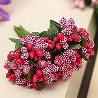 Bluelover Decor fai da te schiuma floreale artificiale falso fiore foglia Bouquet sposa Bridal Party artificiale fiori-rosa scuro