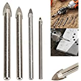 Lot de 4pcs Foret Verre Mèche Tige de Forage Triangle Métallique pour Céramique Marbre Carrelage Drill Bit 4/6/8/10mm DrilL Bit Set