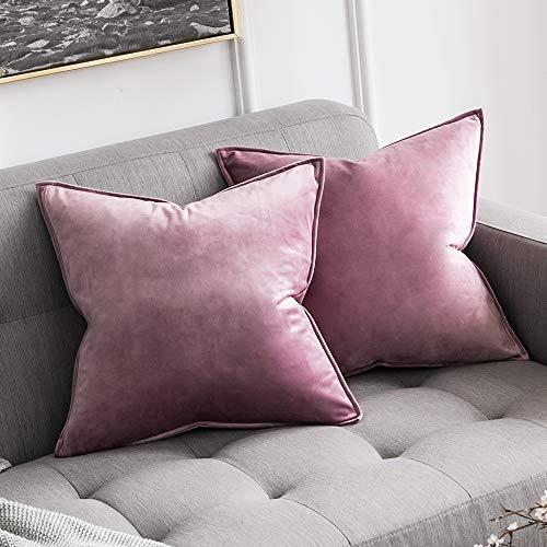 MIULEE 2er Set Samt Kissenbezug Kissenhülle Dekorative Dekokissen mit Verstecktem Reißverschluss Sofa Schlafzimmer Auto 18x 18 Inch 45 x 45 cm 2er Set Pink Lila