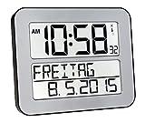 TFA Dostmann 60.4512 TimeLine Max Funkuhr digitale Wanduhr, Batterien inklusive (Silber)