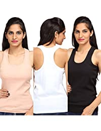 ALBATROZ Cotton T Back Ladies Plain Spaghetti Tank Top Vest Camisole Sando for Women Combo of 3 Black, Red and Skin (Free Size)