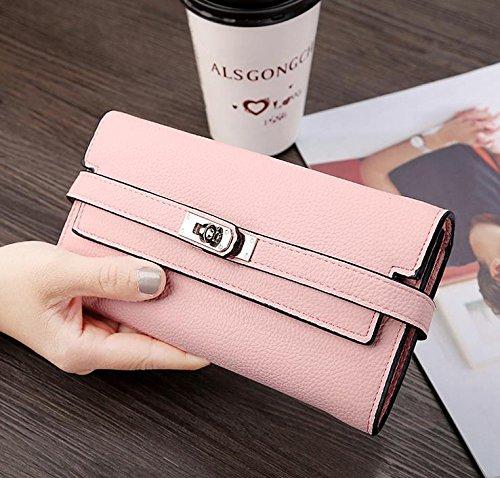 Hippolo Donna grande capacità lusso cera vera pelle Portafoglio con tasca con zip (confezioni regalo) (Pink) Pink