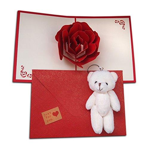 3D-Pop-Up-Grußkartenset, bestehend aus Karte mit großer Rose und Umschlag aus Perlmuttpapier mit Blumenmuster und niedlichem Teddy. Handgefertigtes Kirigamigeschenk für Sie zum Valentinstag, Geburtstag, Jahrestag.