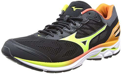 Mizuno Wave Rider 21 Osaka, Zapatillas de Running para Hombre, Multicolor (Black/Safetyyellow/White 44), 42.5 EU