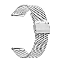 TRUMiRR 22mm Watch Strap Milanese Stainless Steel Band for Samsung Gear 2 R380 Neo R381 Live R382,Moto 360 2 46mm,Pebble Time / Steel,Asus ZenWatch 1 2 Men,LG G Watch Urbane W150,Silver