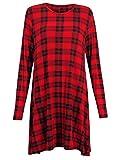 Damen Kleid einfarbig Schottenmuster Lange Ärmel Jersey Stretch ausgestellt kurz Schwingendes Kleid - 44/46, Rotes Schottenmuster